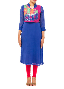 Blue Tikki Work Jacket Kurti