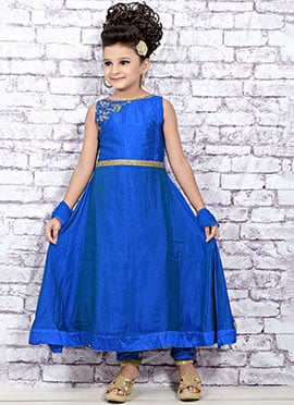 Blue Tissue Silk Kids Anarkali Suit
