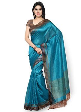 Blue Tussar Silk Saree