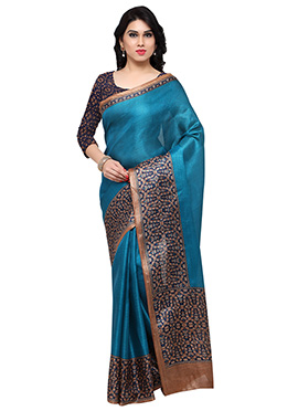 Teal Green Tussar Silk Saree