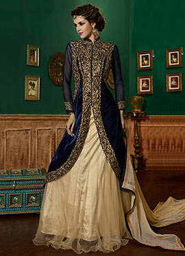 Blue Velvet A Line Long Choli Lehenga
