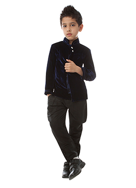 Blue Velvet Bandhgala Suit By Kidology