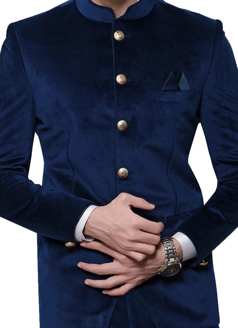 buy blue velvet bandhgala suit velvet bandhgala suits online shopping sumdc3332. Black Bedroom Furniture Sets. Home Design Ideas