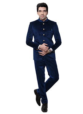 Blue Velvet Bandhgala Suit