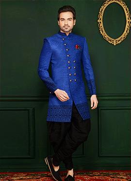 Blue Velvet Indowestern Sherwani