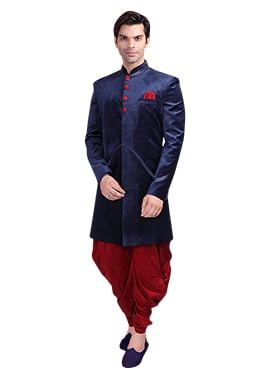 Blue Velvet Patiala Style Sherwani