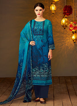 Blue viscose Straight Suit