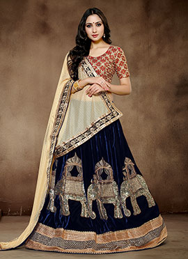 Blue Viscose Umbrella Lehenga