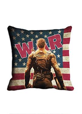 Blue War Soldier Cushion Cover