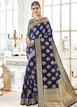 Blue Zari Woven Saree