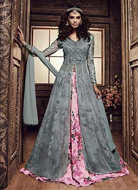 Bluish Grey Umbrella Long Choli Lehenga