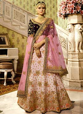 Blush Pink Art Silk A Line Lehenga