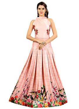 Blush Pink Art Silk Gown