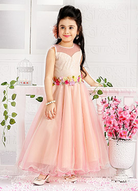 Blush Pink Art Silk Kids Gown