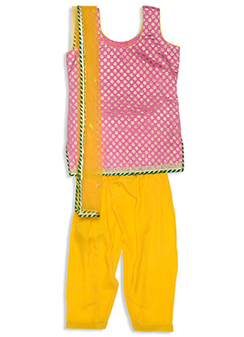 Blush Pink Benarasi Silk Kids Churidar Suit