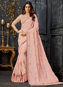 Blush Pink Embroidered Saree