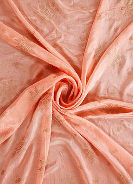 Blush Pink Foil Printed Chinon Chiffon Fabric