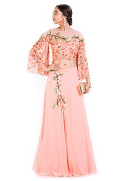Blush Pink Georgette Crop Top Skirt Set