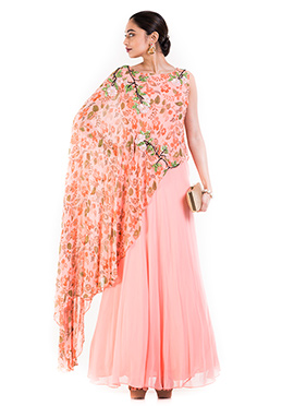 Blush Pink Georgette One Shoulder Cape Gown