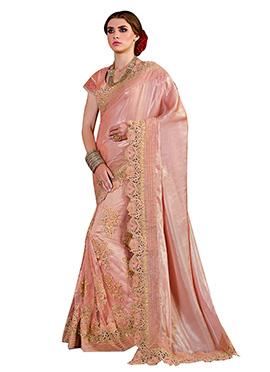 Blush Pink Gerogette Net Saree
