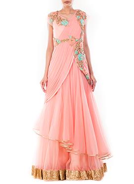 Blush Pink Lycra N Net Saree Gown