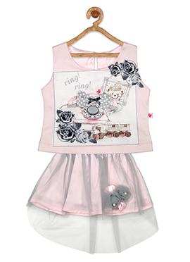 Blush Pink Net Kids Dress