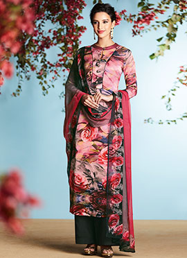 Blush Pink Pure Crepe Palazzo Suit