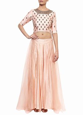 Blush Pink Raw Silk Net Skirt Set