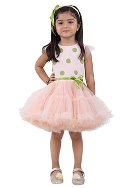 Blush Pink Satin Net Kids Dress