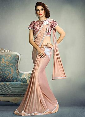 Blush Pink Shimmer Lycra Butterfly Pallu Saree