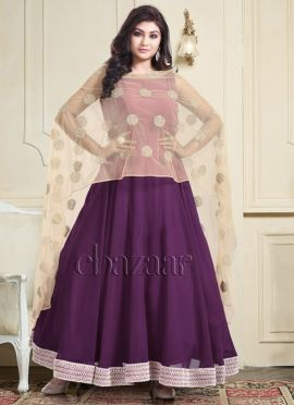 Bollywood Vogue Anarkali With Drape Dupatta And Churidar