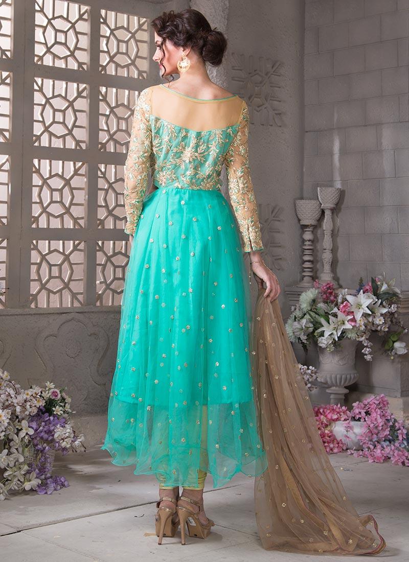 Buy Bollywood Vogue Asymmetric Kameez N Churidar Suit, Sequins ...