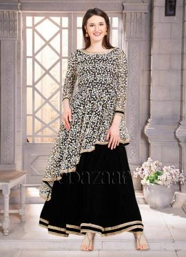 Bollywood Vogue Asymmetrical Layered Anarkali Gown