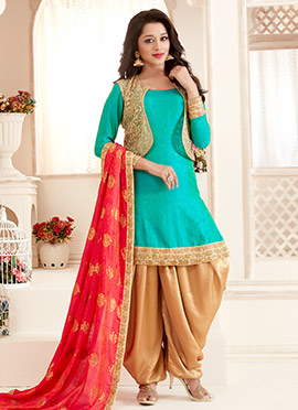 Bollywood Vogue Green N Beige Dhoti Pant Suit
