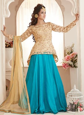 Bollywood Vogue Beige N Turquoise Lehenga set