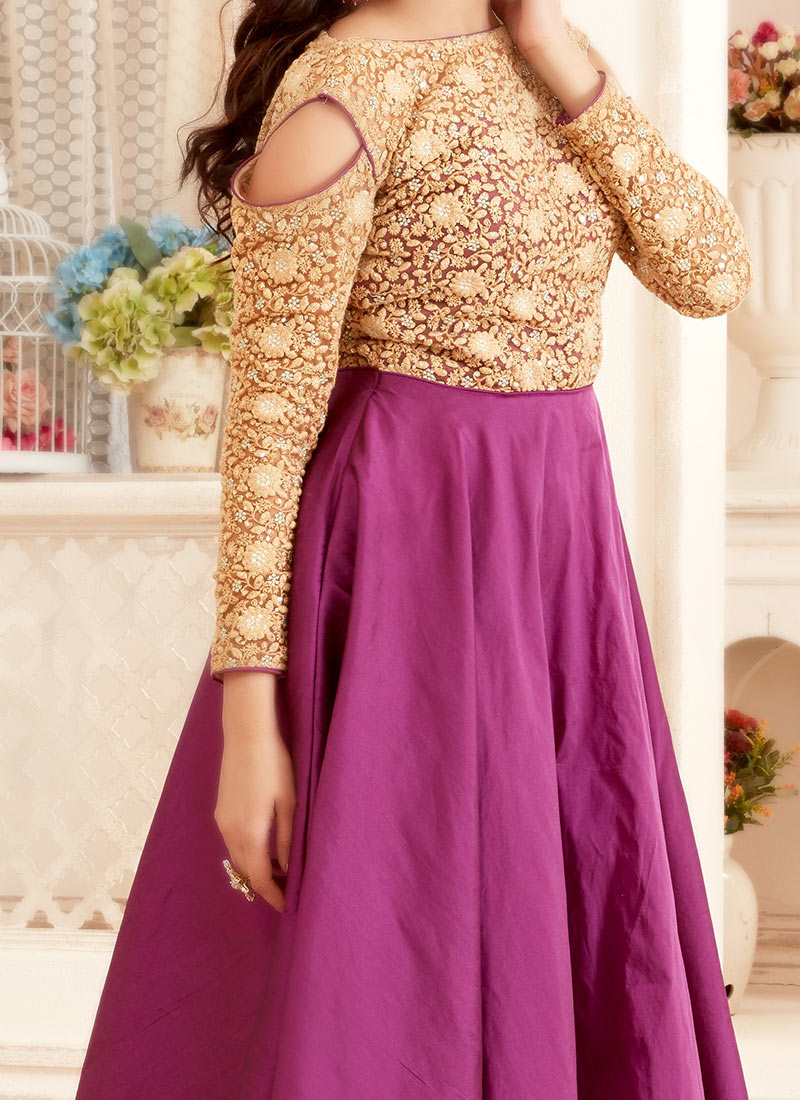Buy bollywood vogue beige n purple bridesmaid gown dresses and bollywood vogue beige n purple bridesmaid gown ombrellifo Images