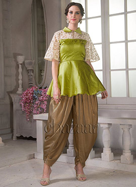 Bollywood Vogue Bell Sleeve Top With Dhoti