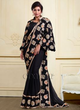 Bollywood Vogue Black Embroidered Jacket With Sari
