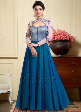 Bollywood Vogue Blueish Green Embroidered Gown