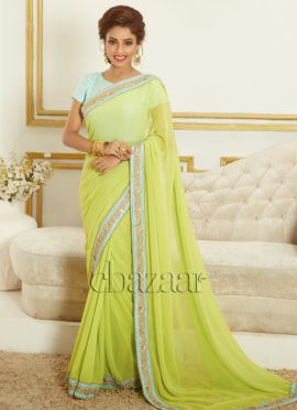 Bollywood Vogue Blue N Parrot Green Sari N Blouse