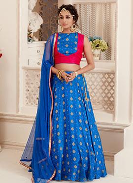 Bollywood Vogue Blue N Pink Ethnic Top Lehenga set