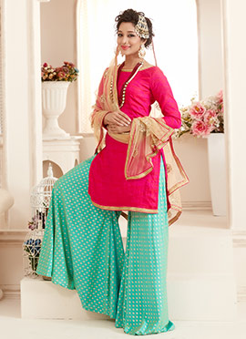 Bollywood Vogue Pink N Aqua Green Palazzo suit