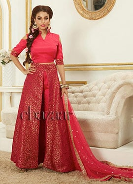 Bollywood Vogue Crop top with drape skirt