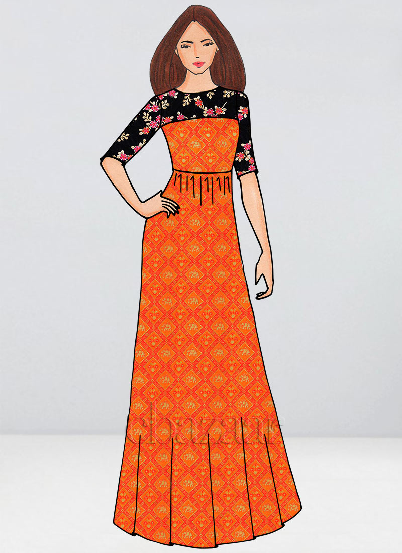 21359b3c34a7 Buy Bollywood Vogue Custom Made Orange Embroidered Gown, Wedding ...