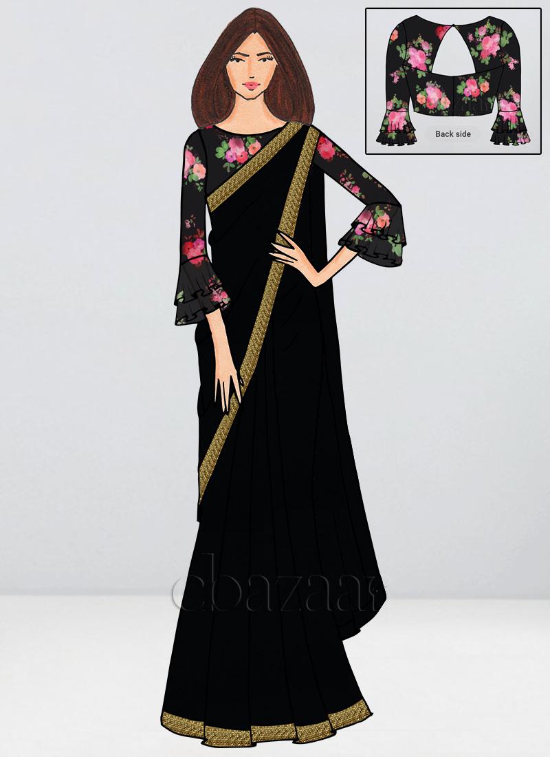 56e9bcdc82 Buy Bollywood Vogue Custom Made Black Saree, Party, sari Online ...