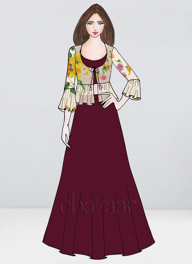 20ab70e41a18f9 Buy Bollywood Vogue Custom Made Crop Top N Skirt