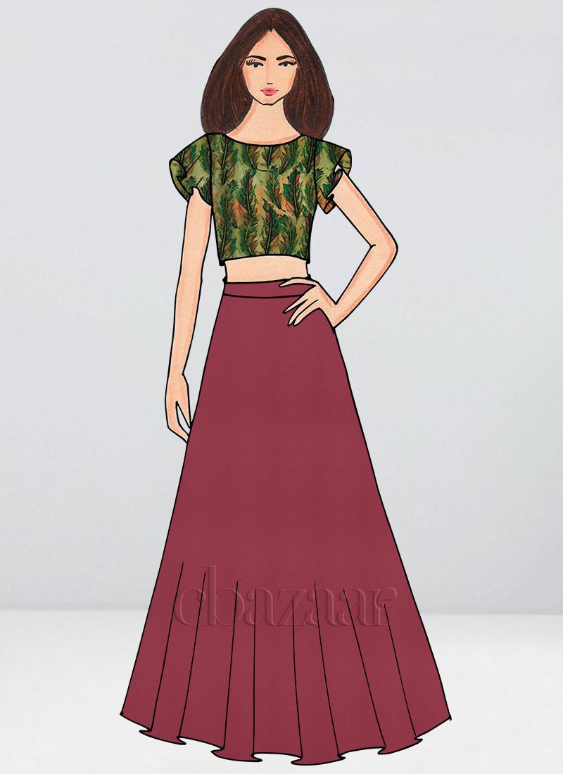 dd3f24a4c2 Buy Bollywood Vogue Custom Made Crop Top N Skirt, Party, indowestern ...