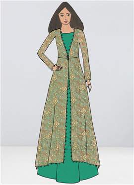 Bollywood Vogue Custom Made Green Gown N Jacket