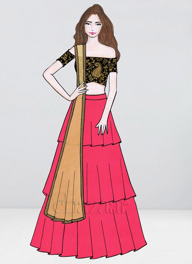 3809dd147 Buy Bollywood Vogue Custom Made Off Shoulder Lehenga