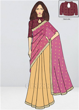 d81ea21f17 Bollywood Vogue Custom Made Pink Embroidered Saree Premium